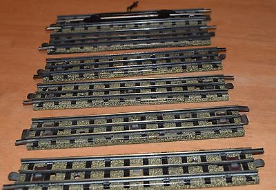 Hornby Dublo 3 rail track x 6 straights (includes 1 uncoupling rail)