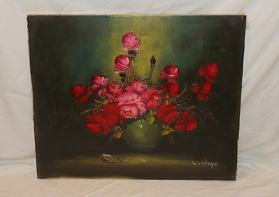 """Red Roses Bouquet"" Oil on Canvas Unframed Painting by L. Hope Ca 1965 Vintage"