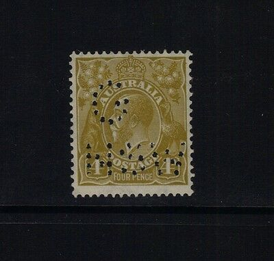 Kgv C Of A 4D Olive Perf G/nsw Fine Muh Scarce Stamp