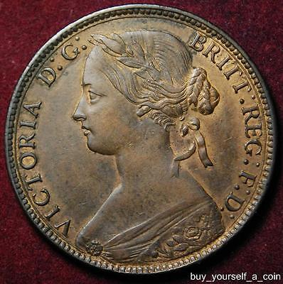 GB Queen Victoria bronze penny 1860 - high grade with traces of lustre