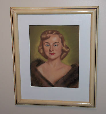 """""""Portrait of the Professor's Wife"""" in Chalk on Paper Drawing Signed Ca 1950"""