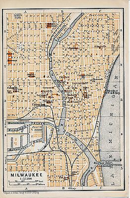 Milwaukee WI 1909 small orig. city map + guide (3 p.) Schlitz + Pabst's brewery