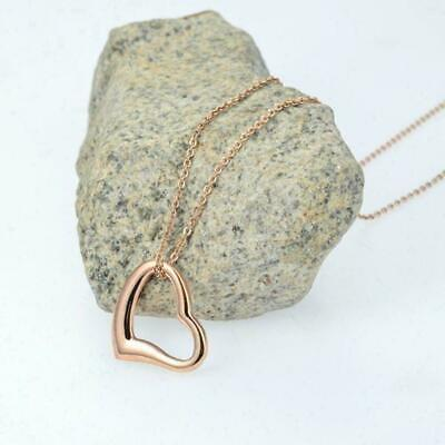 Rose Gold Heart Love Pendant Fashion Glam Bling Necklace Women Girls Jewellery