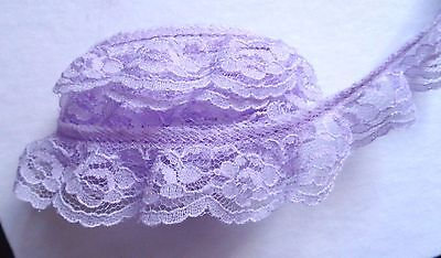 Satin Floral Ruffle Lace Trim   1+1//4 inch wide royal//royal  selling by the yard