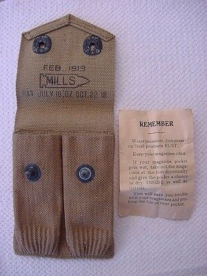 1919 Mills Magazine Pouch For 2 Colt 1911 .45 Auto Magazines + Instruction Sheet
