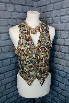 womens SZ M 14/16 Vintage  heavily embellished woven frontage waist coat