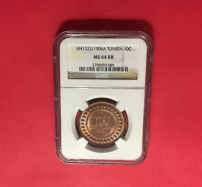 Tunisia - UNCIRCULATED 1904 A ,10 C, NGC MS 64 ....... nice coin.