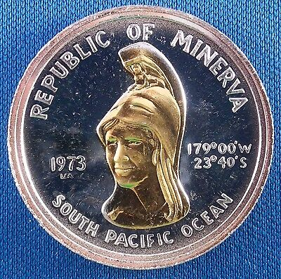 1973 Republic of Minerva $35 .999 Silver Art Round with Gold Plating
