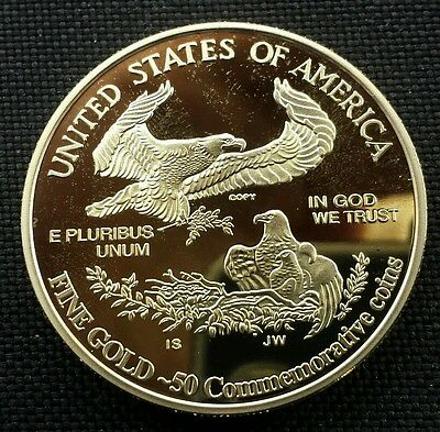In God We Trust Walking Library Goddess &American Eagle Gold Plater Commemorativ