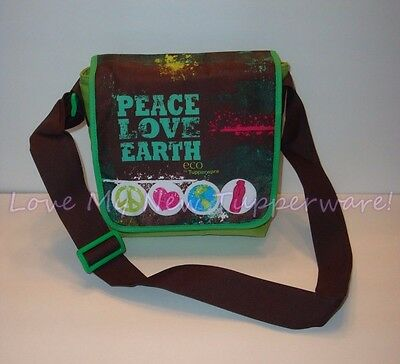 Tupperware Lunch Bag Tote Insulated Adjustable Strap Peace Love Earth New