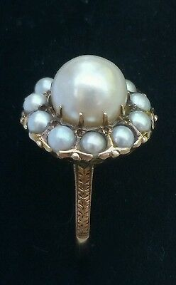 Antique 14k Yellow Gold Pearl Halo Ring Estate Jewelry 4.4gm