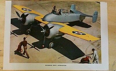 Rare Original VTG Grumman XF4F-F INTERCEPTOR Color Art Print