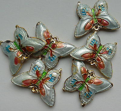 6 Cloisonne Beads, White/Pink/Blue/Multicolour Butterfly 20 mm. Jewellery Making