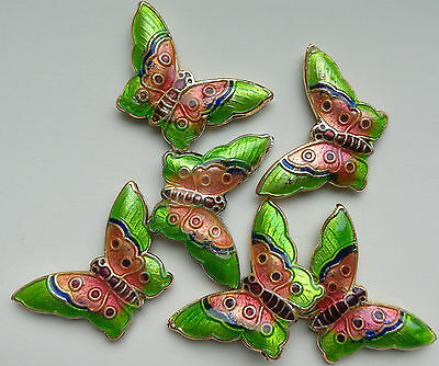 6 Cloisonne Beads, Green/Pink/Blue/Multicolour Butterfly 20 mm. Jewellery Making
