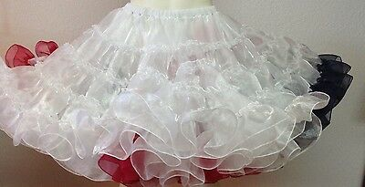 Navy Dark Red White Crystal Petticoat By Evas Petticoats