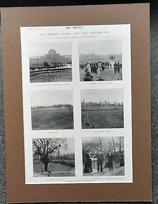 1902 Fa Cup Final At Crystal Palace The Sketch Original Book Plate 16 X 12 Mount
