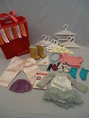 Group Lot AMERICAN GIRL Doll Accessory Hangers Tote Clothes Shoes Hat 21 Pieces
