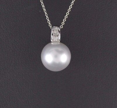 $1,595 14K White Gold 11mm Cultured South Sea Pearl Diamond Pendant Necklace
