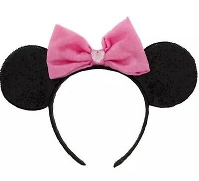 Disney Store Minnie Mouse Ears Head Band Costume  Pink Hat  Girls