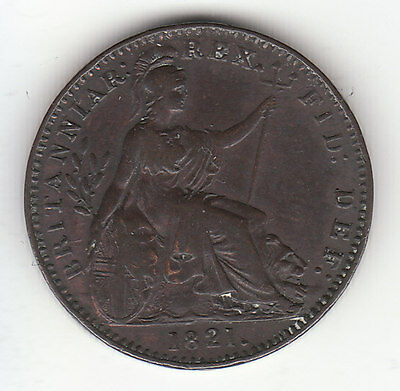 1821 Great Britain King George IV Farthing.  Beautiful Coin.