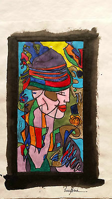 Metal plate print - figurative / portrait signed art work - with added painting