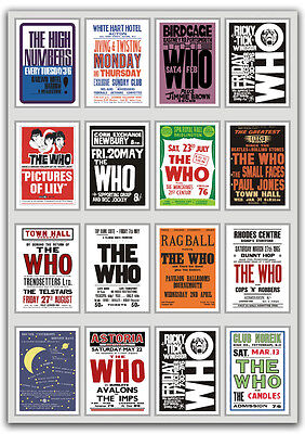 The Who A Fabulous Collection of 1960's Concert Posters Pete Townshend 3 Sizes