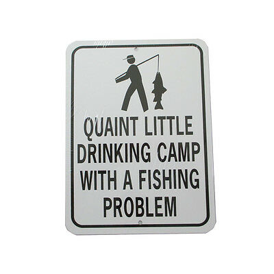 """Fishing Sign Metal Black White 12"""" X 9"""" Made USA All Weather"""