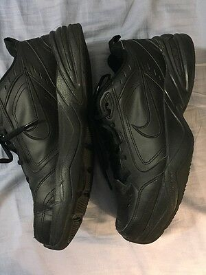 NIKE Air Monarch Black Leather Athletic Sneakers Size 10.5