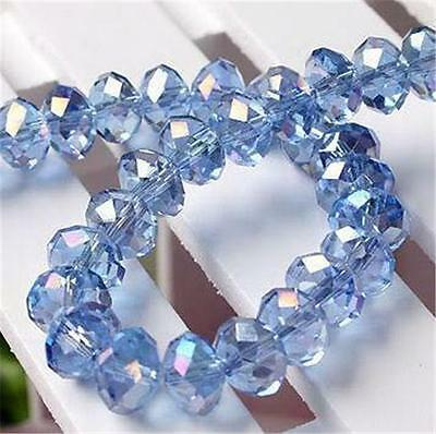 6x8mm Natural FACETED Blue  Crystal Loose Bead 70pc H