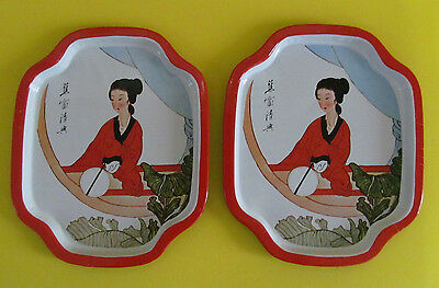 Metal Snack Fruit Trays set of 2 Vintage Japanese Woman Oriental White and Red