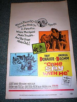 Rare~1967 Orig Movie Poster Insert~COME SPY WITH ME~Troy Donahue~Andrea Dromm