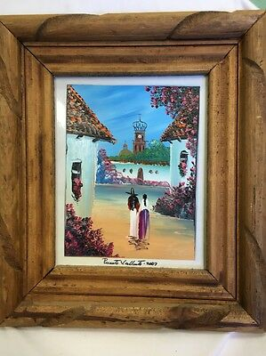 Hand Painted with fingers on glass Signed and Framed - Puerta Vallarta 2007