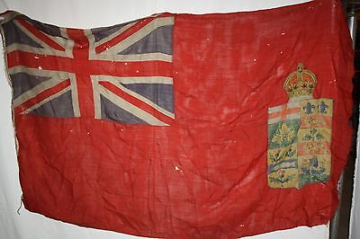 HUGE 19th Century Canadian Red Ensign Flag 1870s