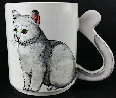 Vintage Cat Coffee Cup White Kitty Pink Ears Tail Is The Handle Caturday JAPAN