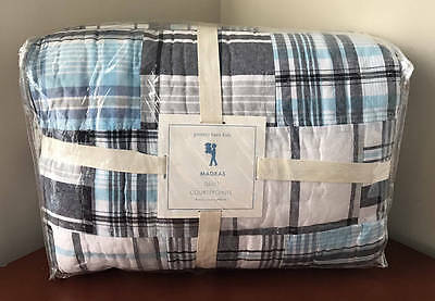 New~Pottery Barn Kids Madras Quilt~Twin~Blue