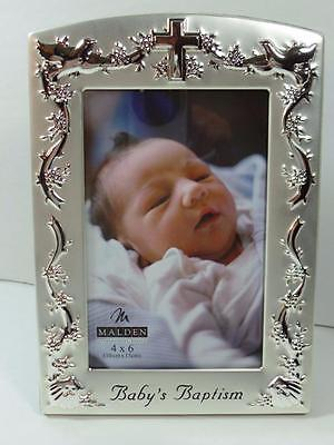 """New Malden Baby's Brushed Silver Baptism Christening Picture Frame Holds 4"""" x 6"""""""