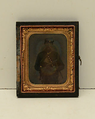 Tin Type Civil War Confederate or Union Army  with Pistol 1/9th Plate