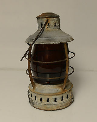 Antique Nautical Ship Lantern Perko Red Globe Embossed