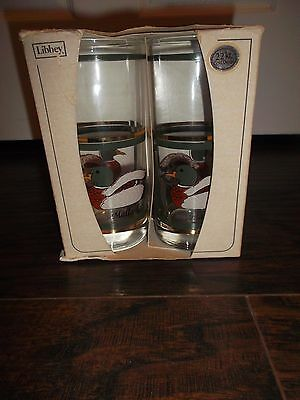 Set Of (4) Libbey Mallard Duck 15 oz Glasses In Original Box 22K Gold - New