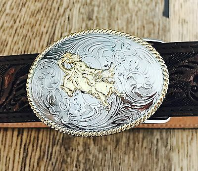 Kids Leather Tooled Western Belt With Cowboy Buckle Size: 24 Inch