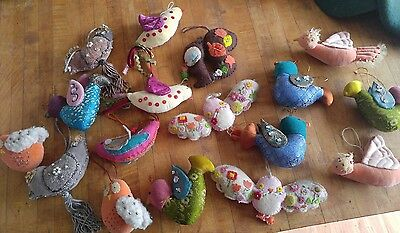 Anthropologie LOT 17 ornaments embellished birds felted