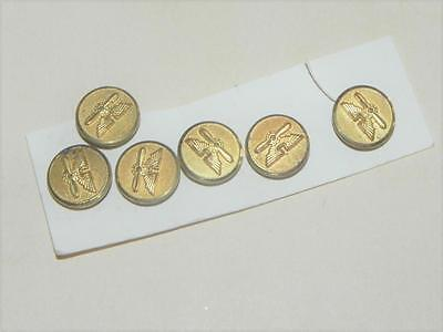 """6 Vintage Army Aviation Buttons~Gold w/ Wings & Propeller ~1/2"""""""