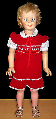 """Vintage 35"""" Playpal Type Doll in Red Dress - VGC"""
