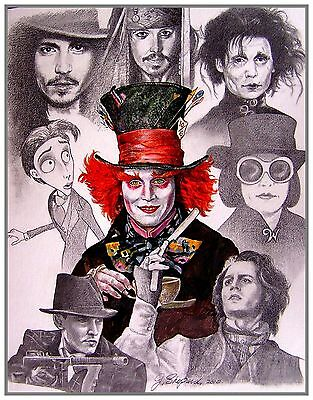 Signed Print featuring illustrations of Actor Johnny Depp