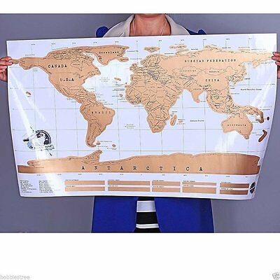 Mini Personalized Scrape Off World Map Poster for Travel Vacation Log Gift B^^
