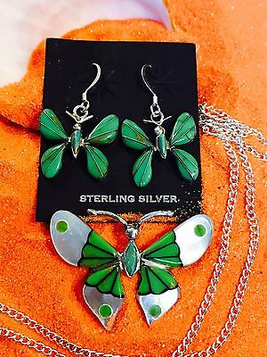 Native American Butterfly Sterling Silver Pendant greenTurquoise With Earrings