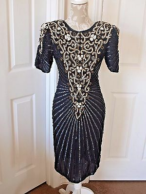 91771a8217a0 SCALA BLACK SEQUIN Dress Beaded Mini Party Cocktail L - $69.99 ...