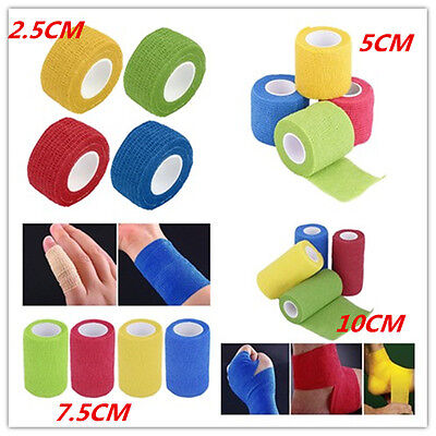 Self-Adhering Bandage Wraps Elastic Adhesive First Aid Tape 2.5cm/5cm/7.5cm B^^