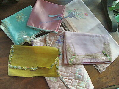 6 VINTAGE/ANTIQUE FABRIC HOLDERS for TRAVEL STOCKINGS JEWELERY INTIMATE WEAR