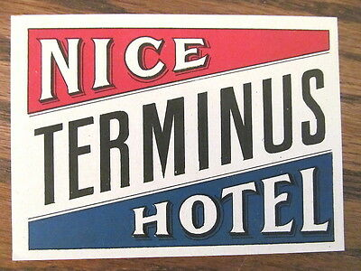 Vintage Old 1930 s Hotel Luggage Label NICE TERMINUS HOTEL Italy
